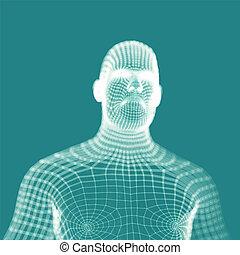 bleu, être, tête, utilisé, illustration., technology., ...