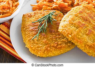 bleu, 非常線, carrots., おろされた, 鶏