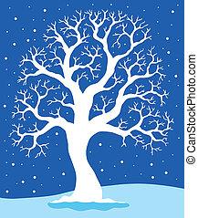 bleu, 1, blanc, arbre, fond
