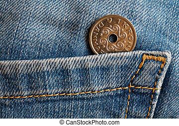 bleu, 1, couronne, danemark, jeans treillis, (crown), porté, dénomination, poche, vieux, monnaie