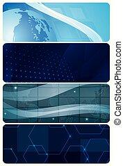 bleu, 10, ensemble, arrière-plans, résumé, -, eps, horizontal