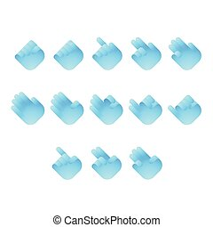 bleu, 10, ensemble, nombre, langue, icônes, gradient, concept, isolé, illustration, signe, eps, vecteur, conception, doigt, blanc, main, dénombrement, fond couleur