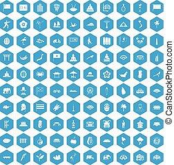 bleu, 100, ensemble, asiatique, icônes