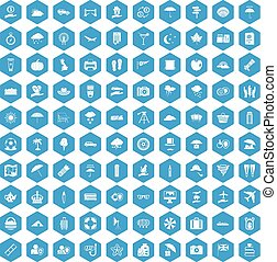 bleu, 100, ensemble, parapluie, icônes