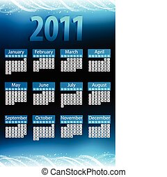 bleu, 2011, incandescent, néon, calendar.