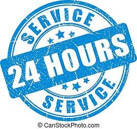 bleu, 24, service, heure, timbre, encre