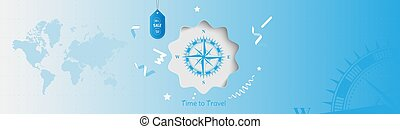 bleu, 25, concept, offre, vendange, temps, vente, travel., faites correspondre arrière plan, tourism., mondiale, compas, bannière, spécial