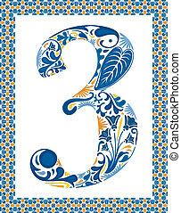 bleu, 3, nombre