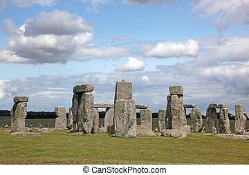 bleu, 3, stonehenge, herbe, angleterre, origines, sky., sous...
