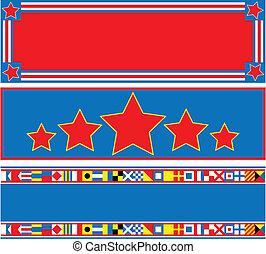 bleu, 3, vecteur, eps8, blanc, bannière, rouges