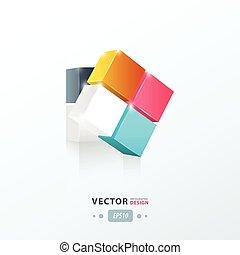 bleu, 3d, cube, rose, vert, jaune