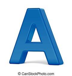 bleu, 3d, lettre, plastique