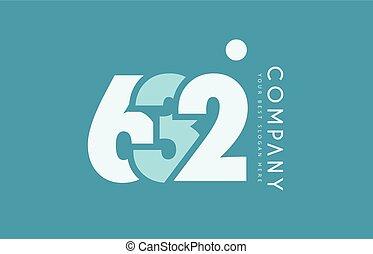 bleu, 632, nombre, conception, cyan, logo, blanc, icône