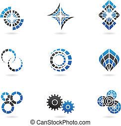 bleu, 9), (set, dent, icônes
