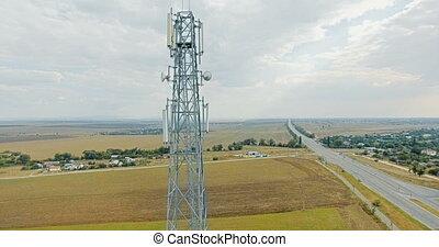 bleu, aérien, antenne, ciel, téléphone portable, transport, tour, route, vue