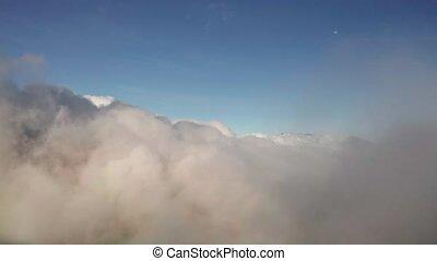 bleu, aérien, ciel, au-dessus, nuages, vue
