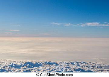 bleu, aérien, ciel, froem, avion, nuages, vue