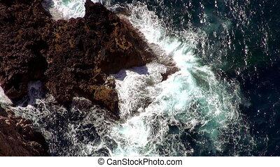 bleu, aérien, eau profonde, coup, ligne, mallorca, falaise