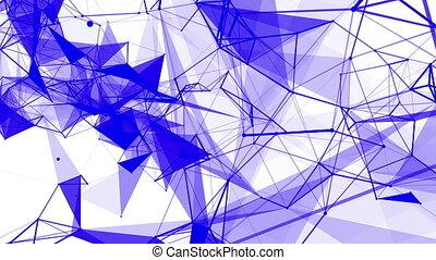 bleu, abstract., rendre, contre, particules, arrière-plan., en mouvement, lentement, blanc, 3d