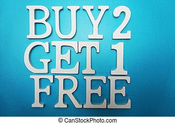 bleu, achat, obtenir, vente, gratuite, une, deux, fond, promotion