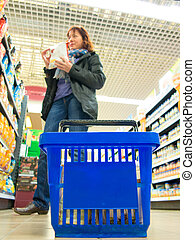bleu, achats femme, shop., supermarché, panier, retail.