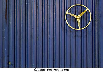 bleu, acier, stockage, porte
