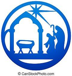 bleu, adoration, bible, silhouette, saint, scène,...