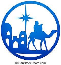 bleu, adoration, bible, silhouette, saint, scène, illustration, arrière-plan., magi, vecteur, blanc, icône