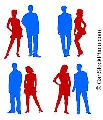 bleu, adultes, couple, jeune, silhouettes, rouges