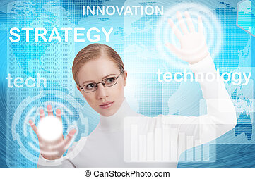 bleu, affaires femme, bureau, moderne, virtuel, boutons, interface, avenir, fond, poussée