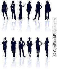 bleu, affaires femme, gallery., vecteur, sombre, silhouettes, ensemble, reflections., mon, plus