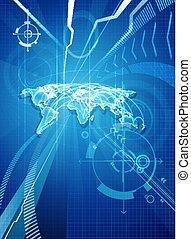 bleu, affaires mondiales, fond, carte