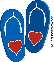 bleu, affection., heart., chaussures, symbole, illustration, vecteur, claque, paire, amour, plage blanche, rouges