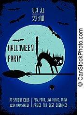 bleu, affiche, balai, halloween, chat, sombre, arrière-plan., sorcière, fête, editable, conception, bannière, template., noir