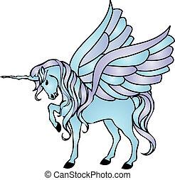 bleu, ailes, licorne