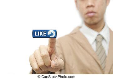 bleu, aimer, business, bouton, doigt, presse, homme