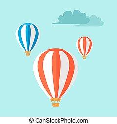 bleu, airballoons, voler, ciel, illustration, vecteur