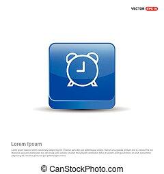 bleu, alaram, horloge, bouton, -, 3d