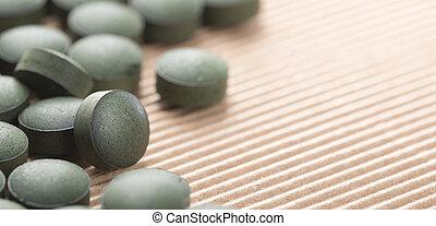 bleu, algae., naturel, spirulina, sur, détail, arrière-plan., vert, artisanal, tablettes