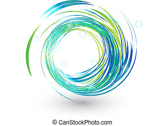 bleu allume, clair, logo, vagues
