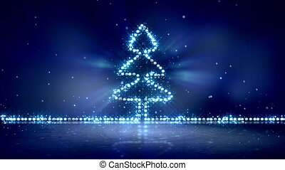 bleu allume, incandescent, arbre, noël