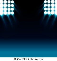 bleu allume, réflecteur, fond, étape