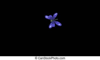 bleu, alpha, papillon, mouches