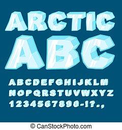bleu, alphabet, arctique, letters., glacé, froid, police, abc.