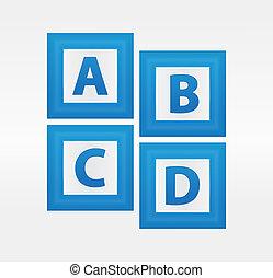 bleu, alphabet, boîtes, vecteur, lettres