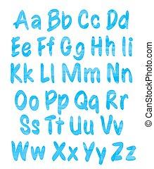 bleu, alphabet, ensemble, aquarelle, modèle