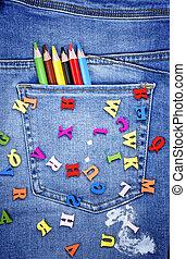 bleu, alphabet, lettres, bois, dispersé, jean, anglaise