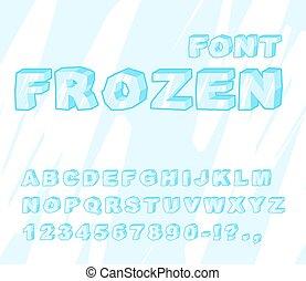 bleu, alphabet., surgelé, abc., glace, font., lettres, froid, transparent