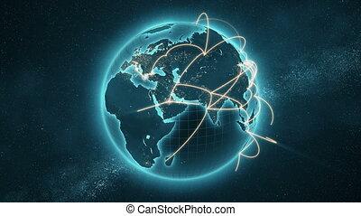 bleu, amélioré, réseau, global, -, version, 4k, orange, nouveau, boucle