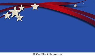bleu, américain, fond, raies, étoiles